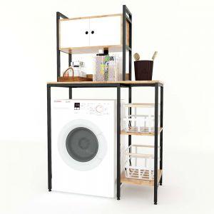 Kệ máy giặt có hộc tủ gỗ cao su khung sắt KMG68004