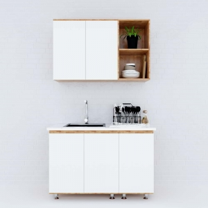 Hệ tủ bếp mini gỗ cao su 1m2 nhỏ gọn hiện đại  BTB68006