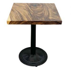 Bàn gỗ me tây dày 5cm chân sắt đế gang 60x60x75cm BMT052