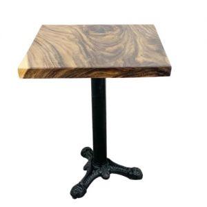 Bàn cafe vuông gỗ me tây dày 5 cm chân gang đúc 3 chĩa BMT054