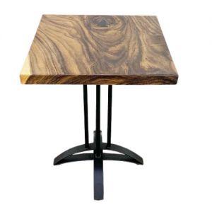 Bàn gỗ me tây dày 5cm chân sắt chữ thập cong BMT053