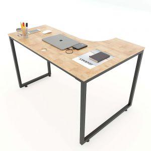 Bàn góc chữ L 120x70cm gỗ cao su chân sắt lắp ráp CD68010
