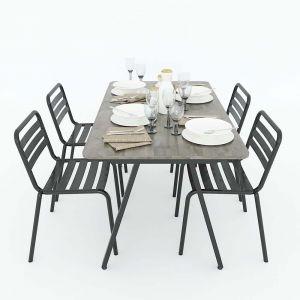 Bộ bàn ghế ăn 4 người gỗ cao su chân sắt CBBA029