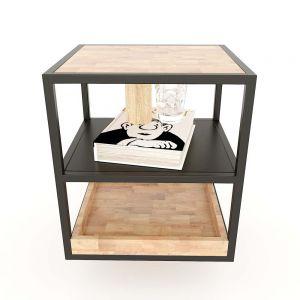 Kệ để đầu giường 3 tầng gỗ cao su khung sắt TDG68031