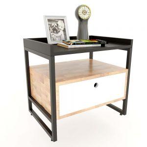 Tủ đầu giường khung sắt gỗ cao su TDG68030