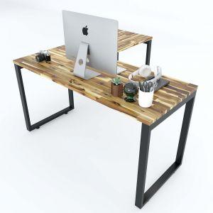 Bàn làm việc chữ L gỗ tràm 140x140cm chân sắt lắp ráp HBWD014
