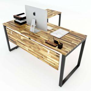 Bàn chữ L gỗ tràm 160x140cm chân sắt lắp ráp hệ Wooden HBWD016
