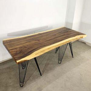 Bàn nguyên tấm gỗ Me Tây dày 5cm chân sắt sọc phi BMT057