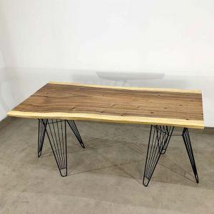 Bàn nguyên tấm gỗ Me Tây dày 5cm chân sắt sọc phi BMT056