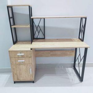 Bàn làm việc chân tủ kết hợp kệ gỗ cao su khung sắt BD68068