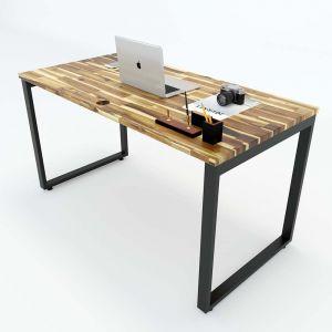 Bàn làm việc gỗ tràm 140x70cm hệ Wooden chân sắt lắp ráp HBWD005