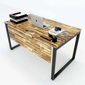 Bàn làm việc gỗ tràm 140x80 chân sắt lắp ráp hệ Wooden HBWD006