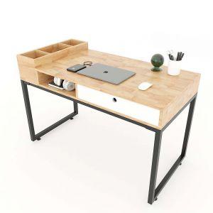 Bàn học hộc kéo kết hợp kệ gỗ cao su chân sắt lắp ráp BD68069