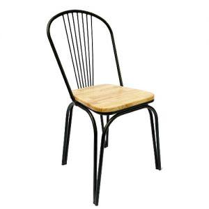 Ghế cafe mặt gỗ lưng tựa bằng sắt sơn tĩnh điện GCF062