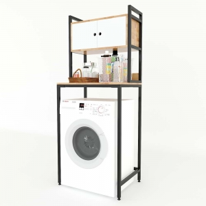 Kệ máy giặt có tủ gỗ cao su khung sắt KMG68007