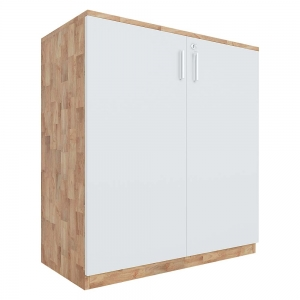Tủ hồ sơ 2 tầng cửa mở gỗ cao su 80x40x87cm THS68023