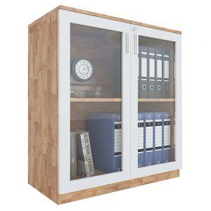 Tủ hồ sơ 2 tầng cửa kính gỗ cao su 80x40x87cm THS68024