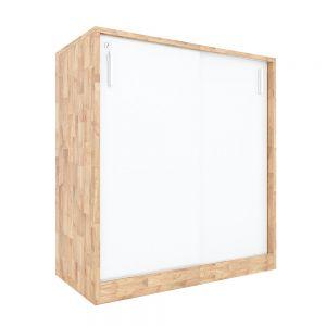 Tủ hồ sơ 2 tầng cửa lùa gỗ cao su 80x40x87cm THS68025