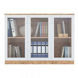 Tủ hồ sơ 2 tầng cửa kính gỗ cao su 120x40x87cm THS68026