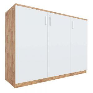 Tủ hồ sơ 2 tầng cửa mở gỗ cao su 120x40x87cm THS68027