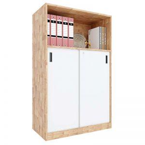 Tủ hồ sơ 3 tầng gỗ cao su cửa lùa có khóa THS68029