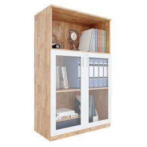 Tủ hồ sơ 3 tầng gỗ cao su cửa kính có khóa THS68033