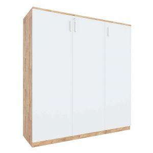 Tủ hồ sơ cửa mở 3 tầng gỗ cao su THS68035