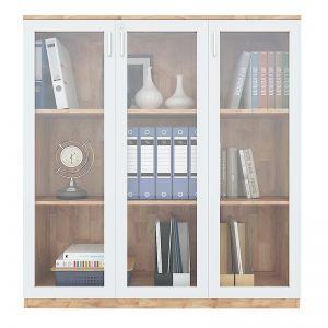 Tủ hồ sơ 3 tầng cửa kính gỗ cao su THS68036
