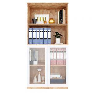 Tủ hồ sơ cửa kính 4 tầng gỗ cao su THS68039