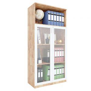 Tủ hồ sơ cửa kính có khóa 4 tầng gỗ cao su THS68041