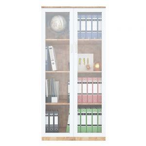 Tủ hồ sơ 4 tầng gỗ cao su cửa kính có khóa THS68042