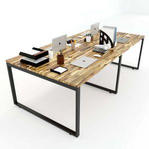 Bàn cụm 4 gỗ tràm 120x240cm chân sắt lắp ráp hệ Wooden HBWD012