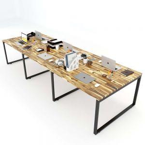 Bàn cụm 6 người 120x360cm gỗ tràm chân sắt lắp ráp HBWD013