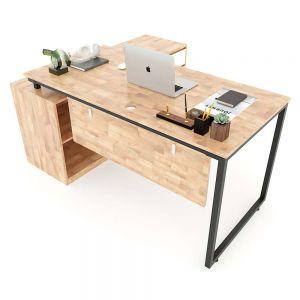 Bàn giám đốc 160x140cm (mặt bàn chính 140x70) gỗ cao su hệ Minimal HBMN020