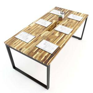 Bàn họp gỗ tràm 90x180cm chân sắt lắp ráp hệ Wooden HBWD008
