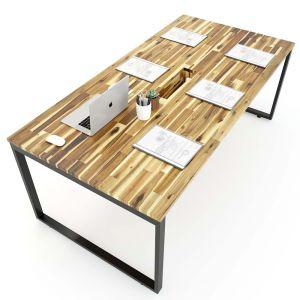 Bàn họp gỗ tràm 100x200cm chân sắt lắp ráp hệ Wooden HBWD009