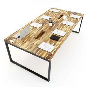 Bàn họp gỗ tràm 120x240cm chân sắt lắp ráp hệ Wooden HBWD010