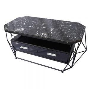 Bàn sofa mặt đá đen có hộc tủ khung sắt sơn tĩnh điện TT68107