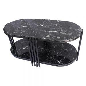 Bàn sofa 2 tầng mặt đá đen 100x50x45cm TT68111