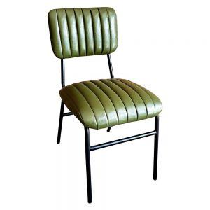 Ghế ăn, ghế cafe nệm màu xanh chân sắt sơn tĩnh điện GCF065