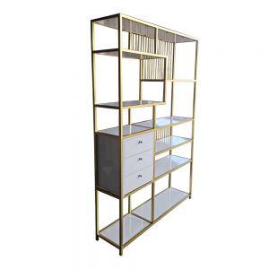 Kệ trưng bày kết hợp tủ gỗ sơn trắng khung màu vàng đồng KTB68080
