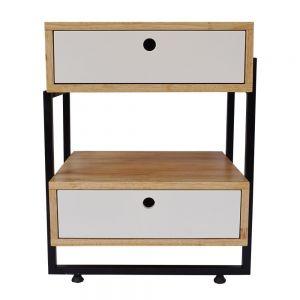 Tủ đầu giường 2 ngăn kéo gỗ cao su 45x40x59cm TDG68033