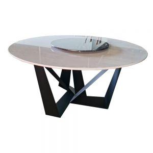 Bàn ăn tròn 2 tầng xoay mặt đá trắng chân sắt sơn tĩnh điện BA68036