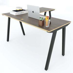 Bàn làm việc chữ L 140x140cm gỗ Plywood hệ PLY chân sắt lắp ráp HBPL014