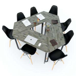 Bàn cụm 4 gỗ cao su hệ Lego chân sắt lắp ráp HBLG010