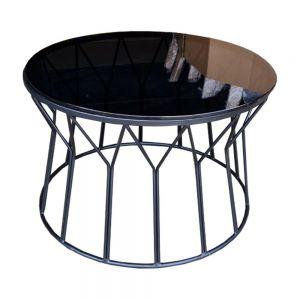 Bàn sofa tròn mặt kính đen khung sơn tĩnh điện TT68115