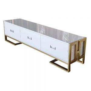 Kệ tivi 3 hộc kéo gỗ sơn trắng khung màu vàng đồng KTV68065