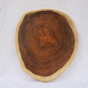 Mặt bàn tròn gỗ Me Tây Nguyên Tấm dày 7cm MBMT014