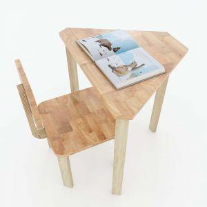 Bộ bàn ghế mầm non hình thang gỗ cao su màu tự nhiên KGD001