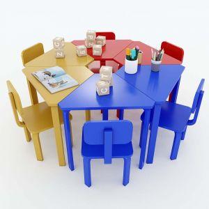 Module Bàn ghế mầm non hình thang cụm 6 gỗ cao su KGD003